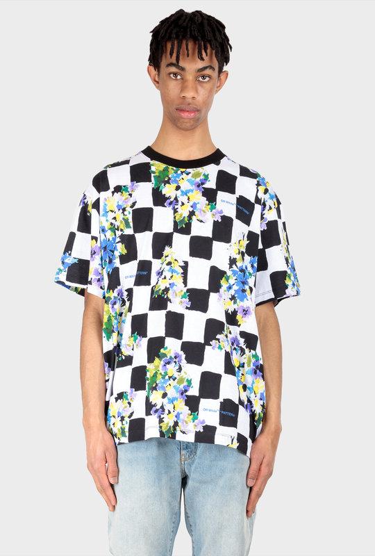 Check Flower Print T-Shirt Black White