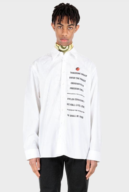 Word Print Long-Sleeve Shirt White