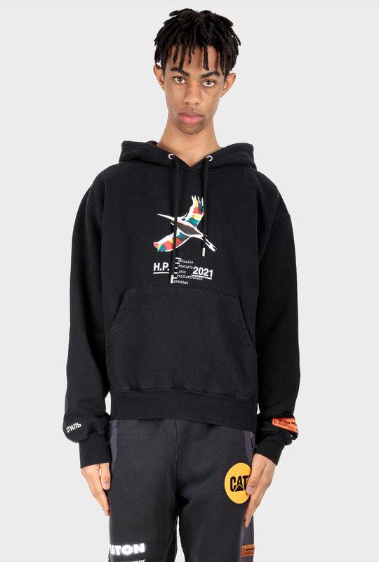 Rainbow Print Hoodie Black