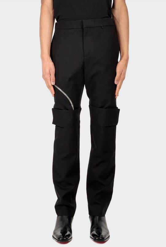 Layered Effect Pants Gabardine Black