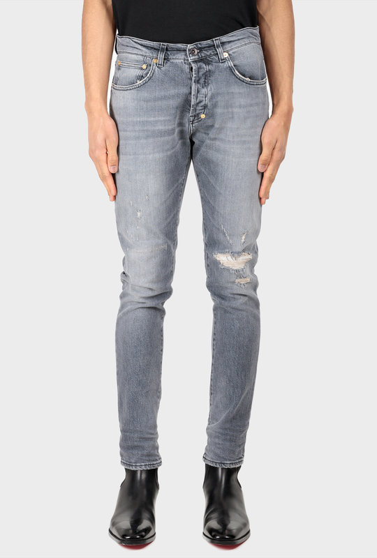 Skinny Damaged Jeans Grey