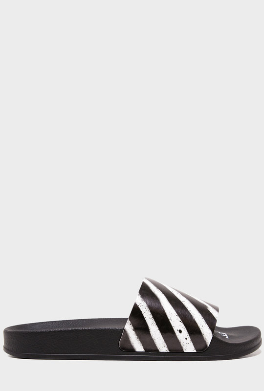 Spray Stripes Slides Black