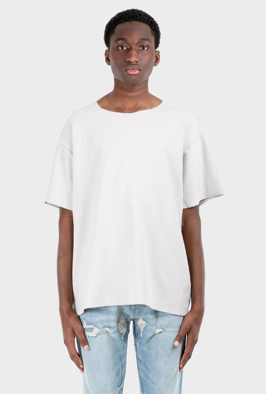 Inside Out Terry Tee Concrete White