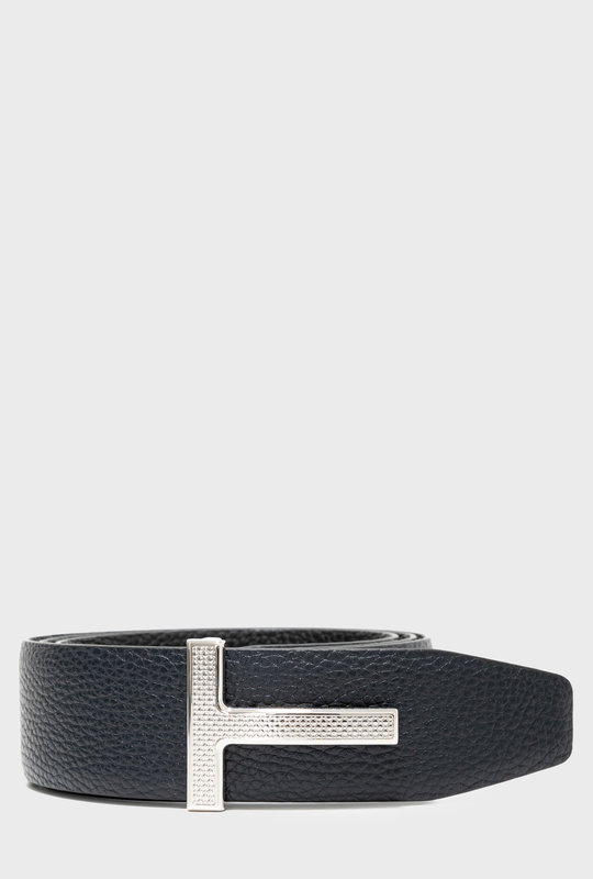 Reversible Full-Grain Leather Belt Navy Black