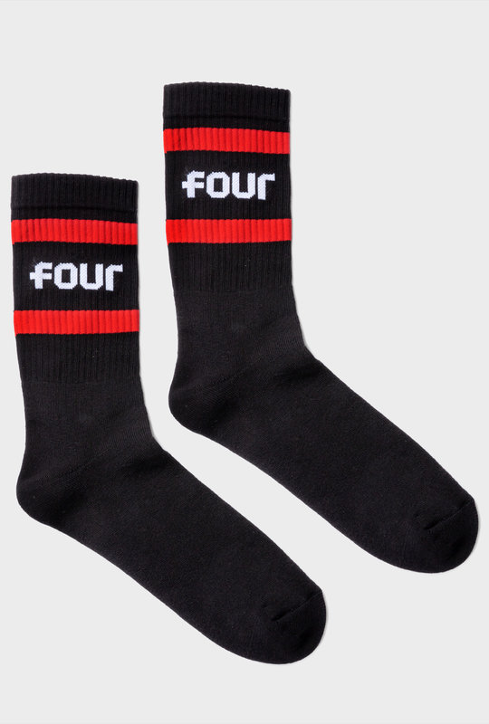 Mid Socks Line Black Red