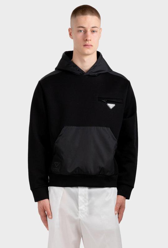 Hoodie With Nylon Details Black