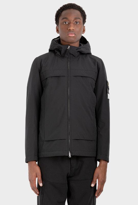 Panelled Hooded Jacket Black