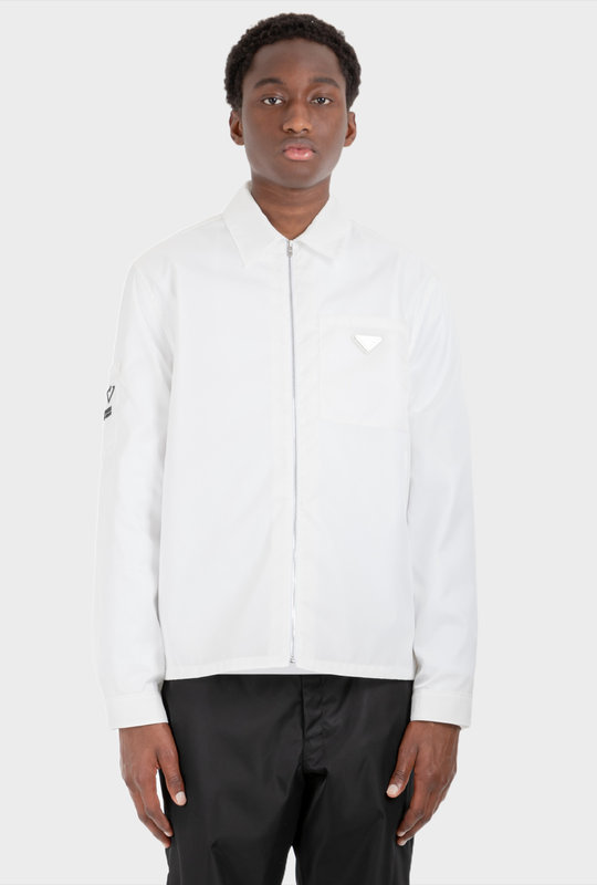 Re-Nylon Cotton Zipped Shirt White