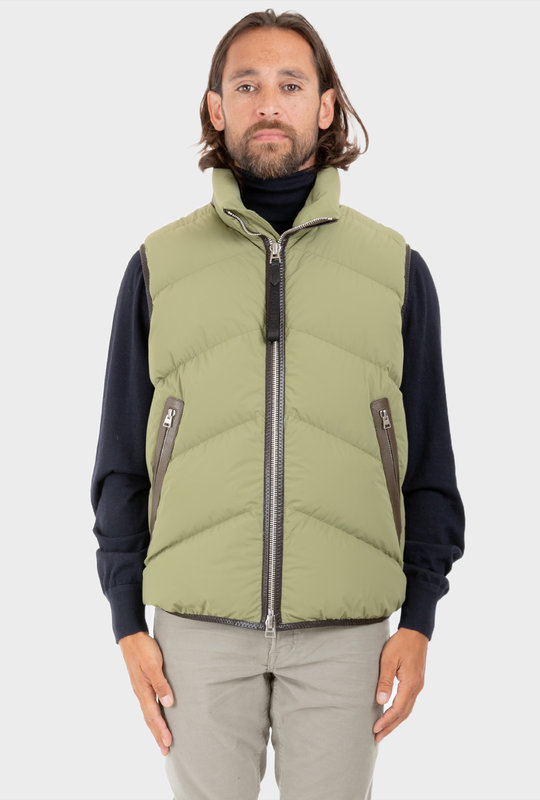 Padded Down Gilet Olive Green