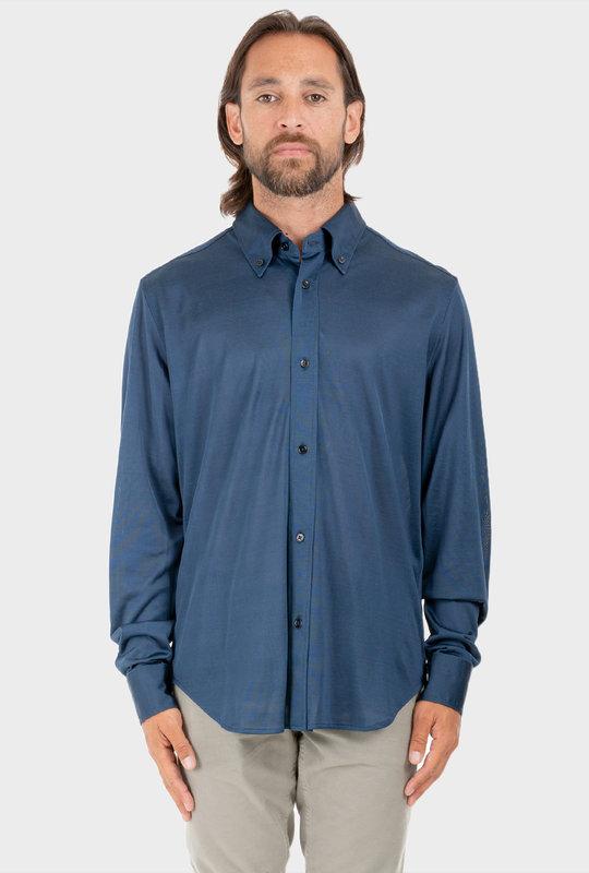Plaid Button-Collar Jersey Shirt Blue