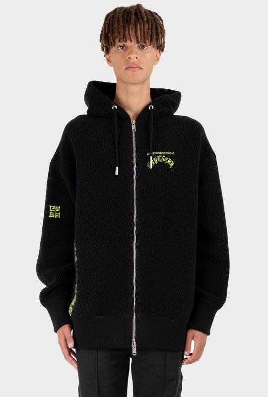 Embroidered-Logo Wool Hoodie Black