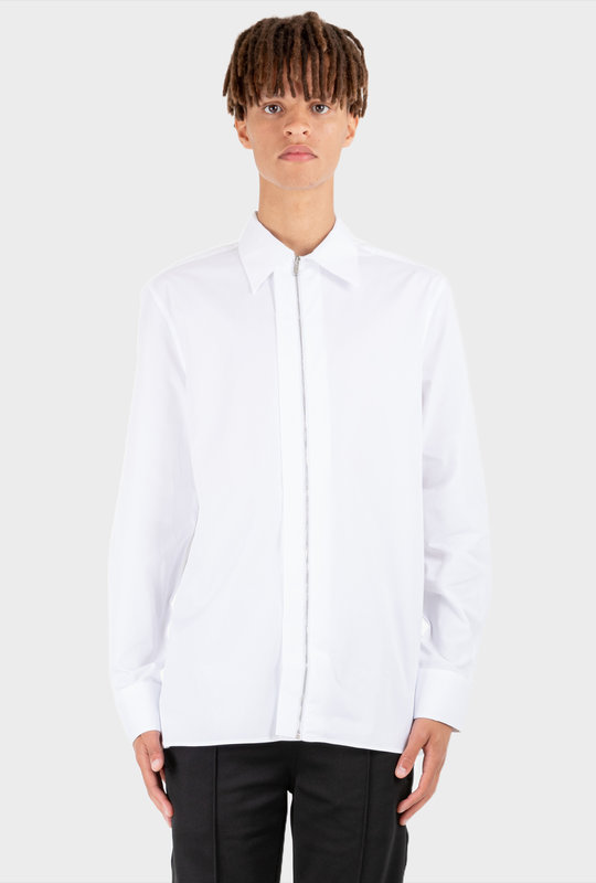 Popelin Zipper Shirt White