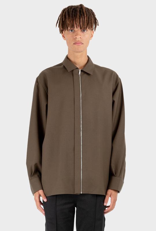 Popelin Zipper Shirt Khaki