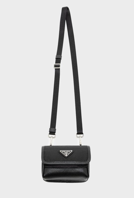 Re-Nylon Saffiano Leather bag  Black