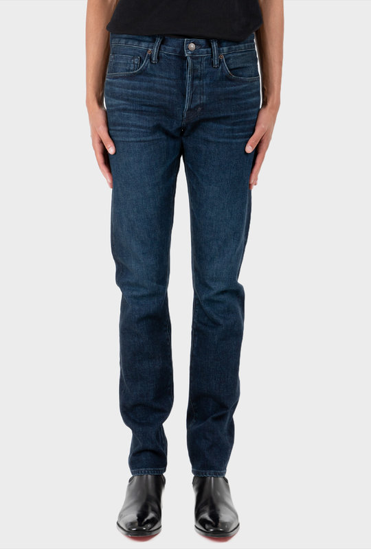 Washed Cord Stretch Slim Fit Denim Jeans Blue