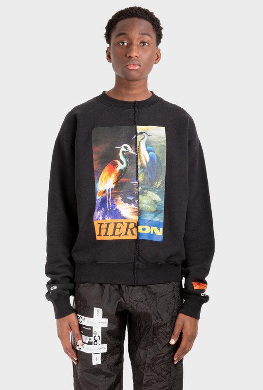 Split Graphic Sweatshirt Black