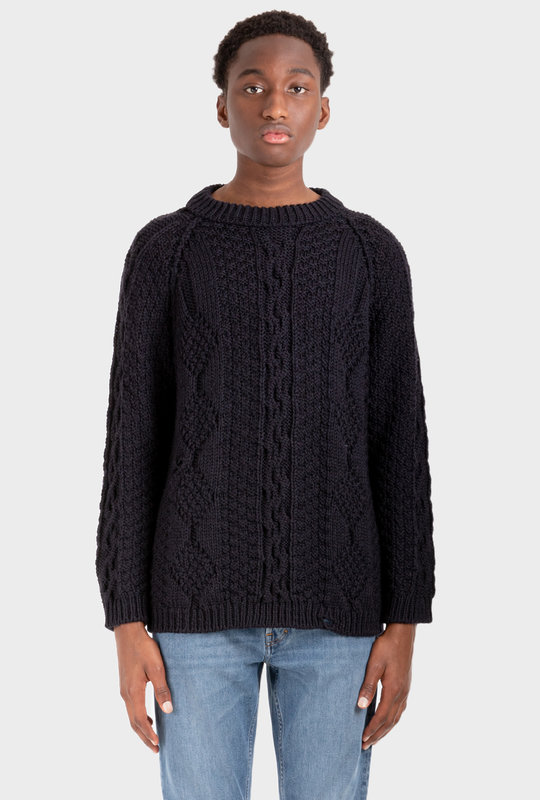Long-Sleeve Cable-Knit Jumper Blue