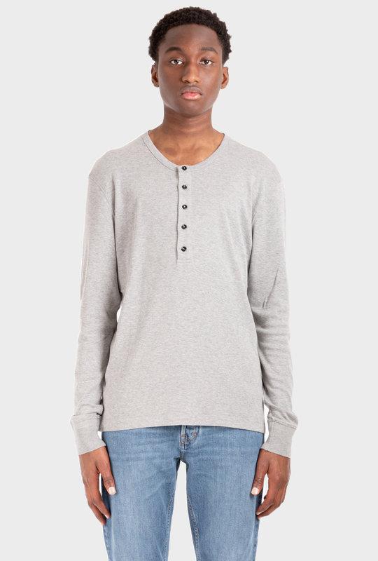 Mélange-Effect Long-Sleeve T-Shirt Grey