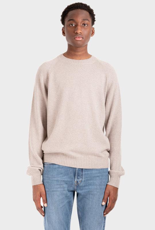 Crewneck Long-Sleeve Knitted Jumper Beige