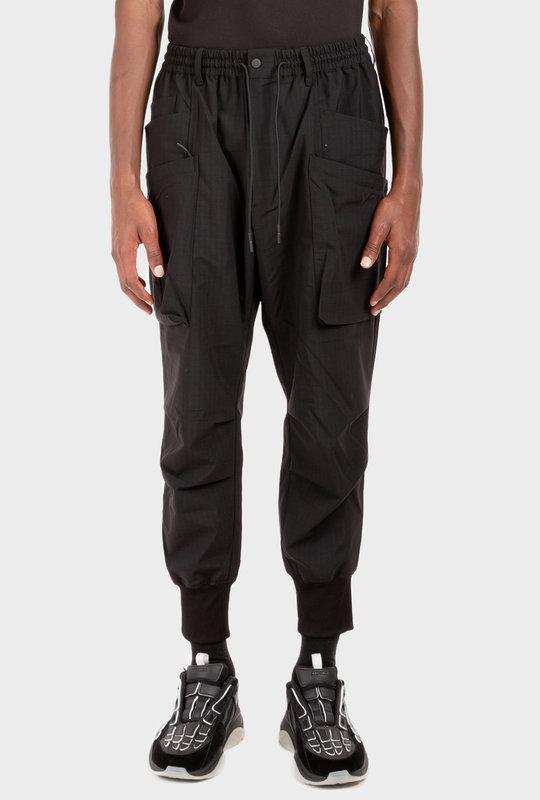 Drawstring Waist Utility Trousers Black