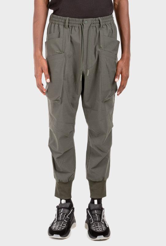 Drawstring Waist Utility Trousers Green