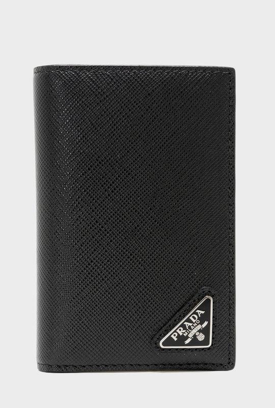 Logo Plaque Saffiano Cardholder Black