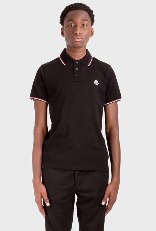 Stripe-Trim Logo-Patch Polo Shirt Black