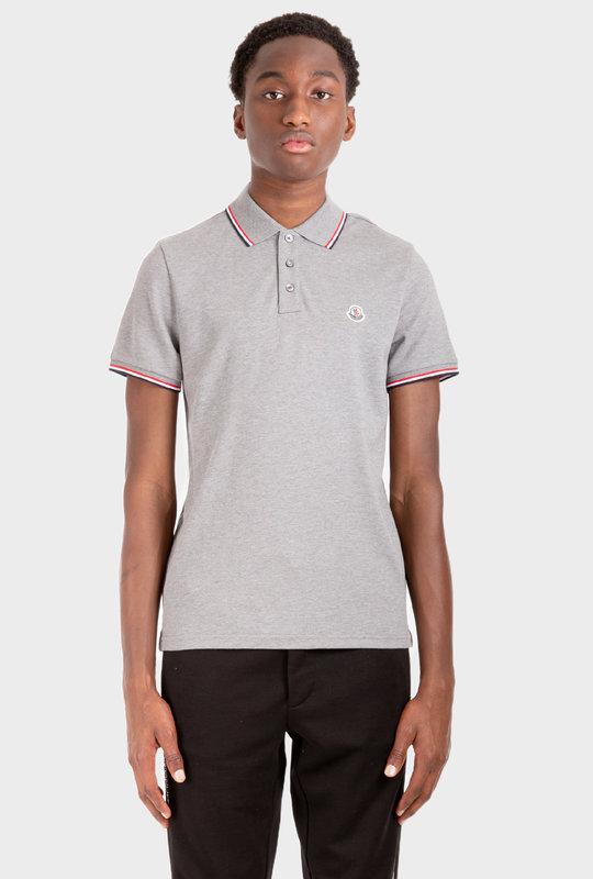 Stripe-Trim Logo-Patch Polo Shirt Grey