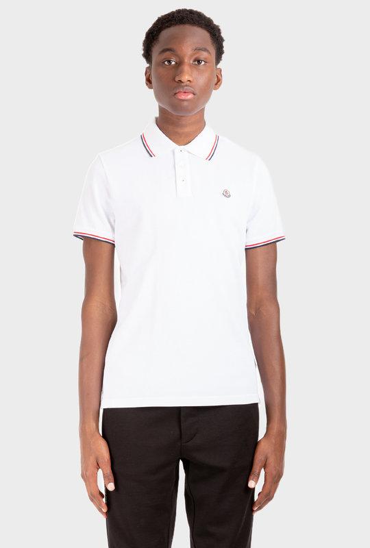 Stripe-Trim Logo-Patch Polo Shirt White