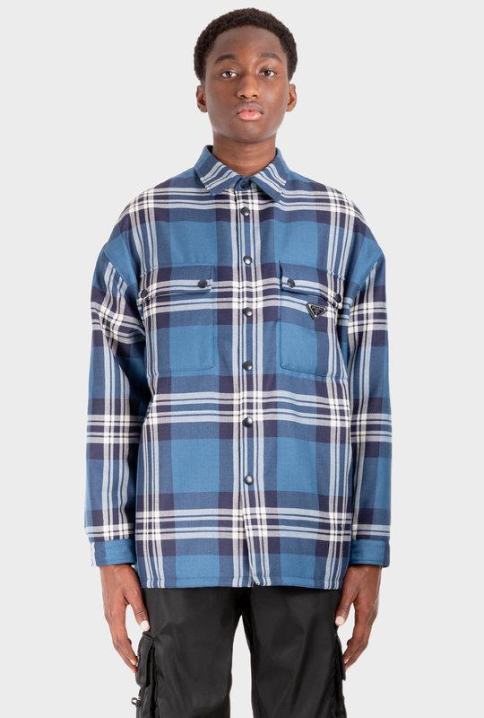Checked Wool Padded Overshirt Multi