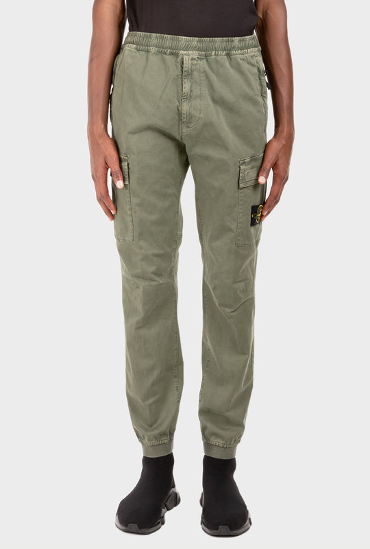 Logo-Patch Cargo Trousers Sage