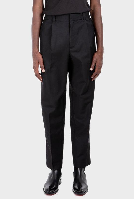 Wool Blend Trousers Black