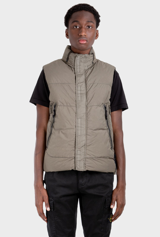 Padded Hooded Down Gilet Sage