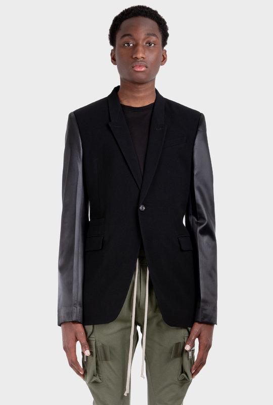 Leather Sleeve Blazer Black