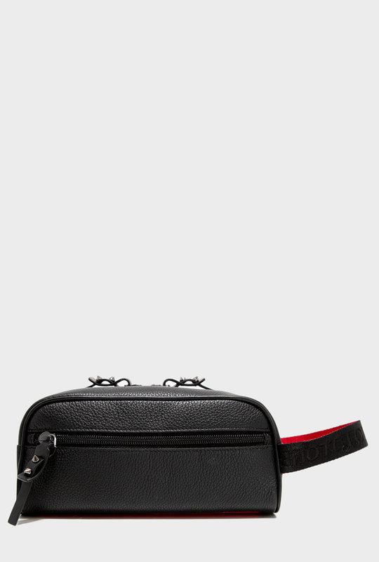 Full-Grain Leather Wash Bag Black