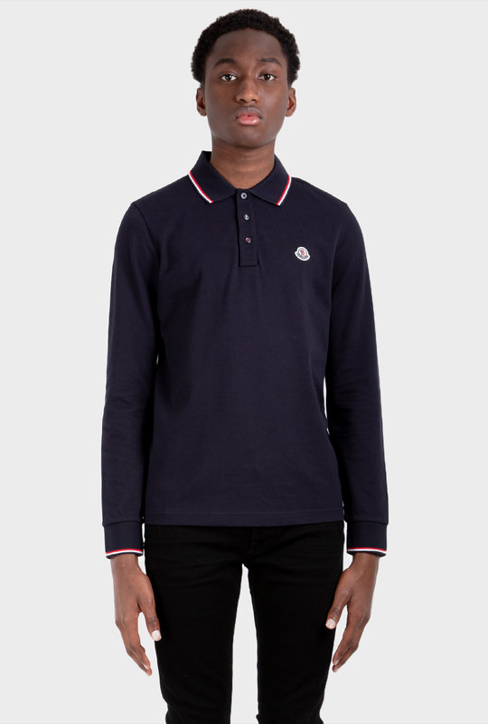 Patch Long Sleeve Polo Shirt Navy