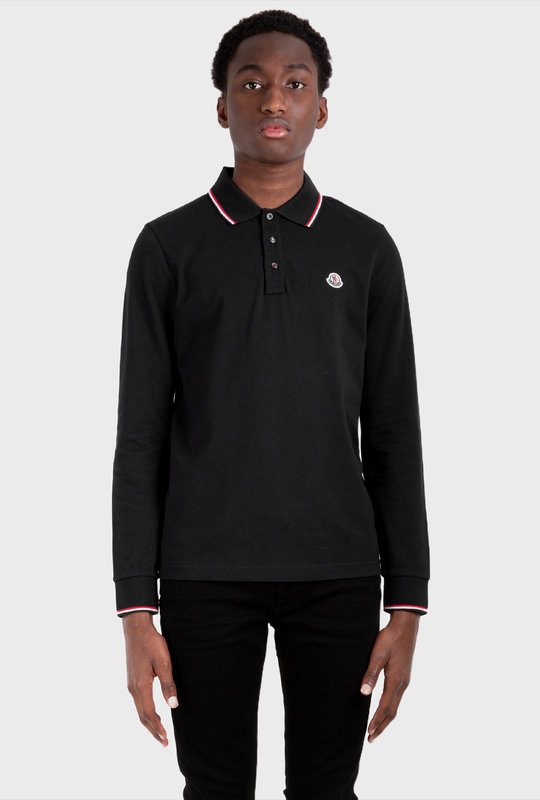 Patch Long Sleeve Polo Shirt Black