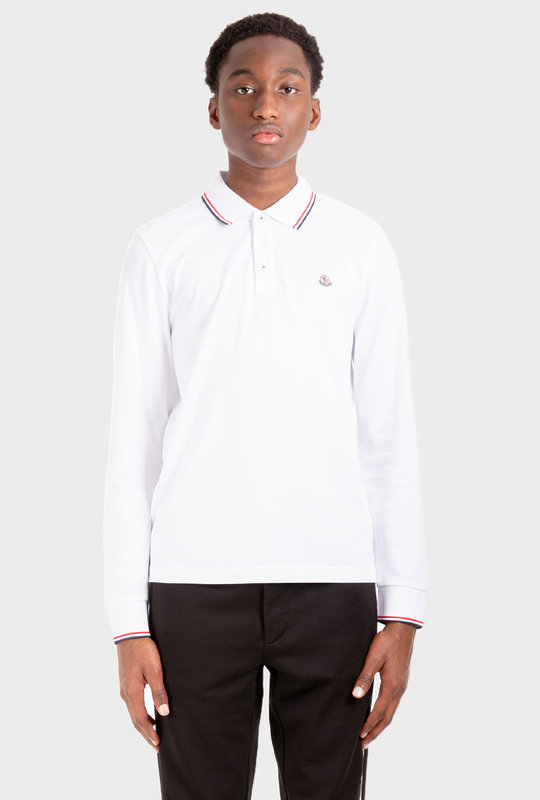 Patch Long Sleeve Polo Shirt White