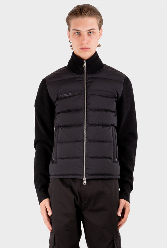 Padded Front Zipped Cardigan Black