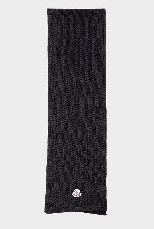 Logo Patch Virgin Wool Scarf Black