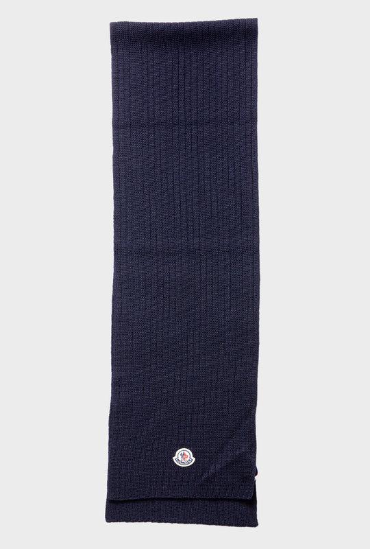 Logo Patch Virgin Wool Scarf Blue