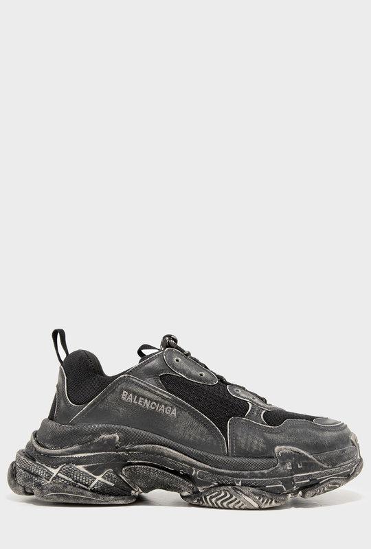 Triple S Faded Sneakers Black