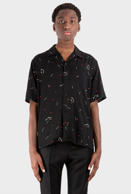 Motif Print Shirt Black