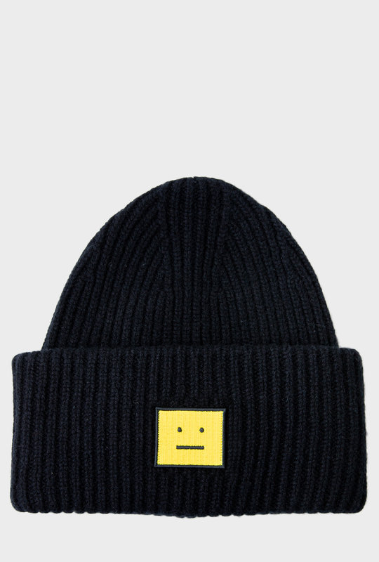 Face Patch Knitted Beanie Black