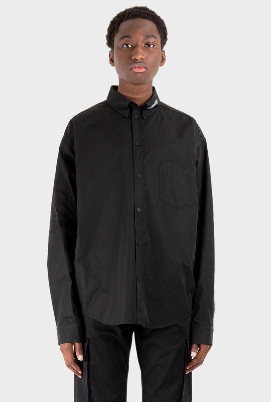 Embroidered Logo Collar Shirt Black