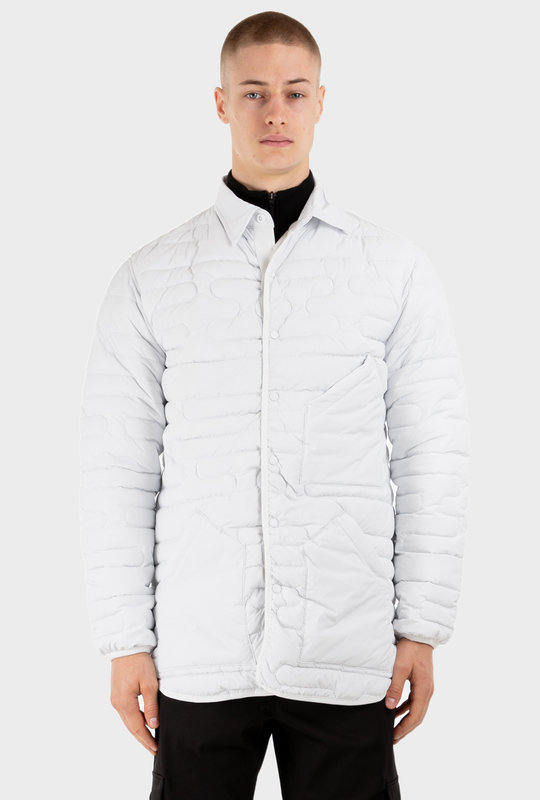 Press-Stud Quilted Shirt Jacket White