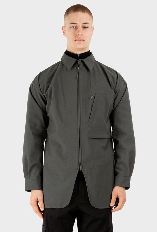 Striped Zip-Up Shirt Jacket Green