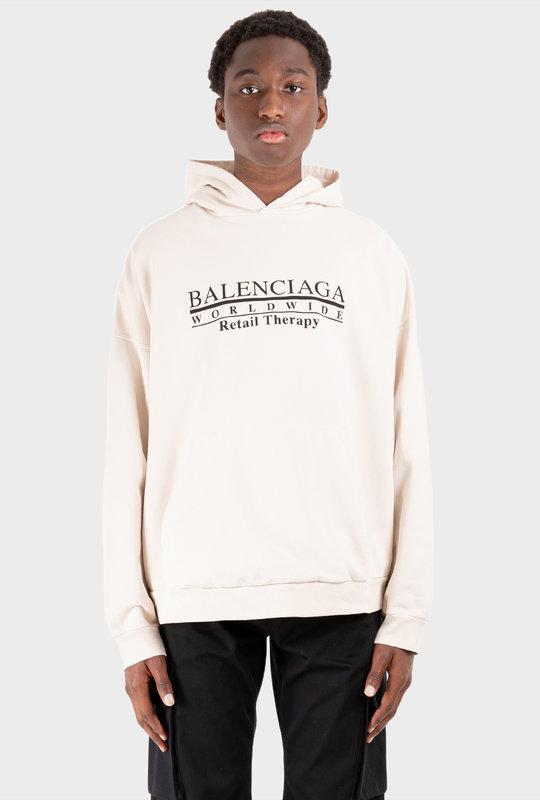 Retail Therapy Slogan Hoodie White