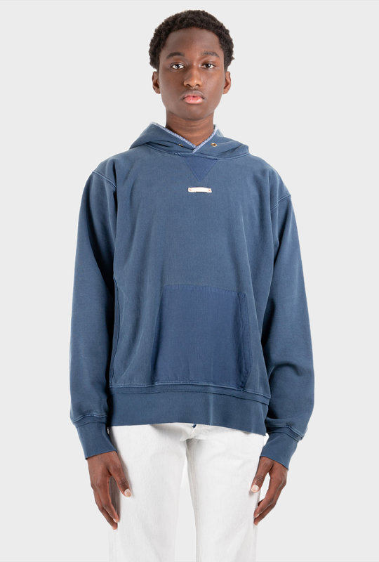 Patch Detailed Hoodie blue