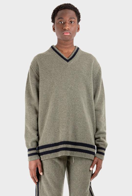 Contrast Trim Wool Jumper Green